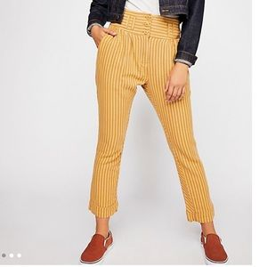 High-waisted yellow Free People pants, worn once!